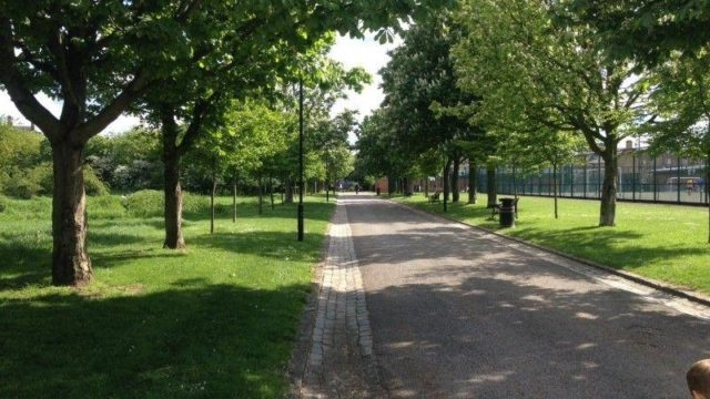 Dog walk at Haggerston Park, Hackney