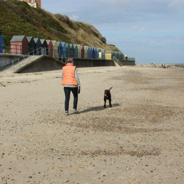 Dog walk at Mundesley Beach