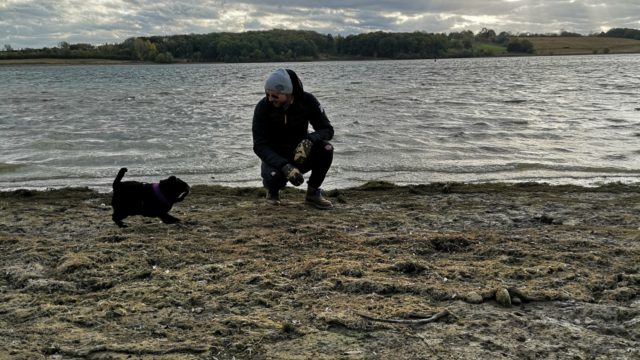 Dog walk at Rutland Water Reservoir
