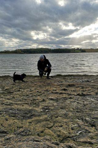 Dog walk at Rutland Water Reservoir photo