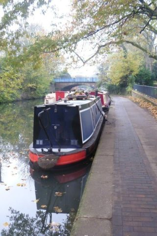 Dog walk at Urban Canalside In East London photo